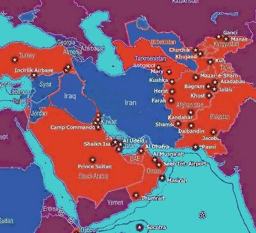 Yhdysvaltain sotilastukikohdat Persianlahden alueella.