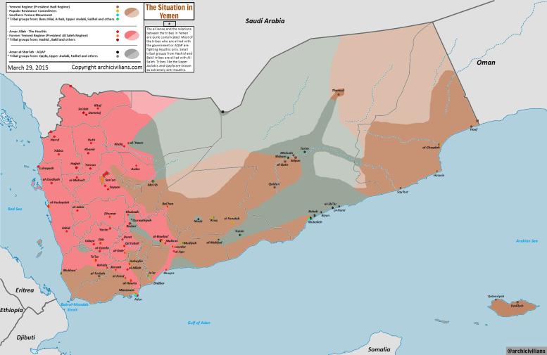 Jemenin sotilaallinen tilannekartta 29.3.2015.