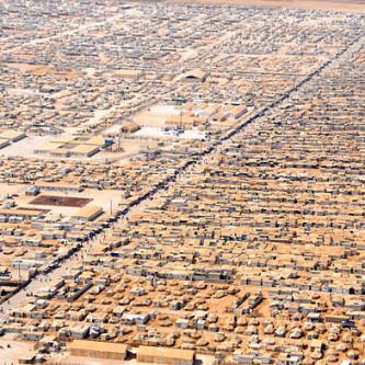 Syyrian pakolaisten leiri Jordaniassa kesällä 2013: Kuva: Wikimedia Commons