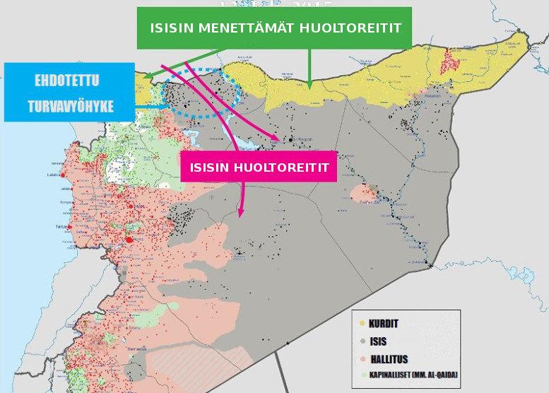 """Yhdysvaltain ja Turkin suunnittelema """"turvavyöhyke"""" turvaisi Isisin huoltoreitit."""
