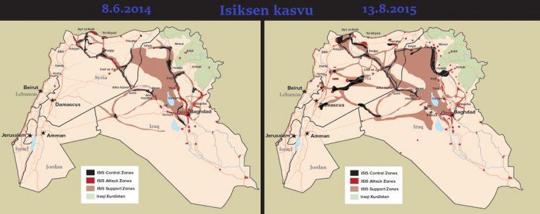 Niin sanottu Isiksen vastainen liittouma ei ole heikentänyt terroristijärjestön voitonmarssia kohti Damaskosta tai Bagdadia. Liittouman sotatoimien alkamisen jälkeen Isis on laajentanut hallitsemiaan alueita huomattavasti. Lähde: Defenseone.com