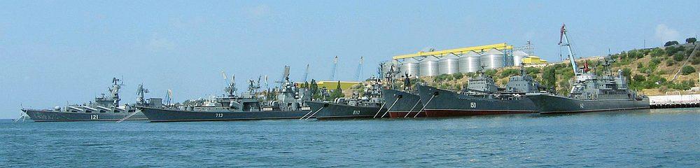 Venäjän Mustan meren laivaston aluksia Sevastopolissa. Kuva: Wikimedia Commons
