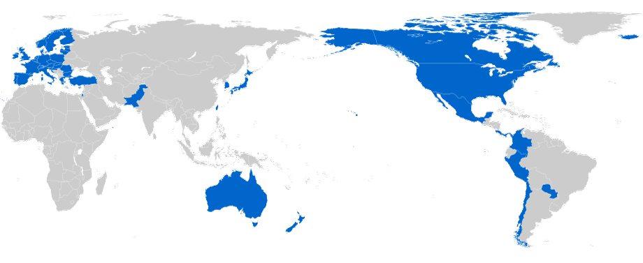 TiSA-neuvotteluihin osallistuvat maat.  Lähde: www.dfat.gov.au | Wikimedia Commons