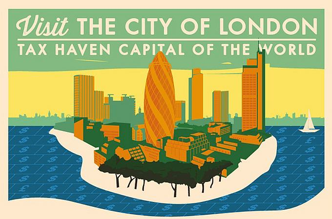 """""""Vieraile Lontoon Cityssä -- maailman veroparatiisipääkaupungissa."""" Veronkiertoa vastaan kampanjoivan The Rules -järjestön juliste."""